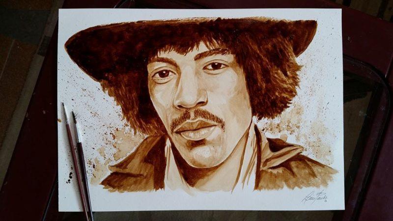 pintura com café Hendrix Luis Paulo