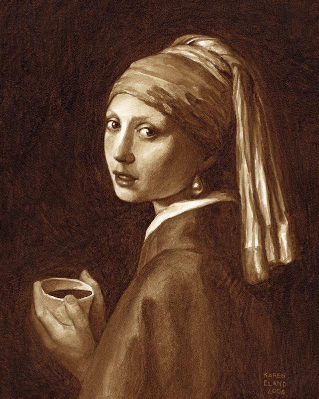 pintura com café Karen Eland 2
