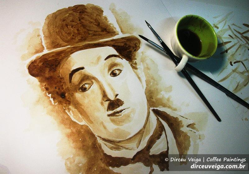 ilustração Chaplin com café Dirceu Veiga