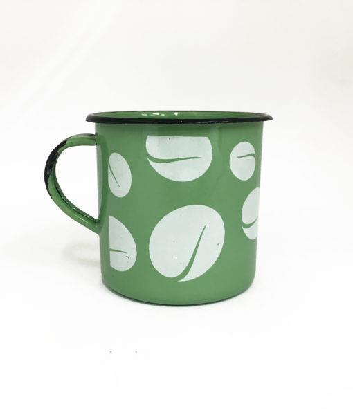 imagem caneca esmaltada verde grãos